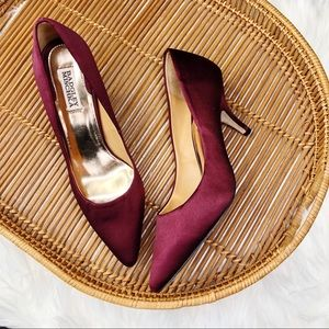 Badgley Mischka Burgundy Wine Satin Silk Heels 9M